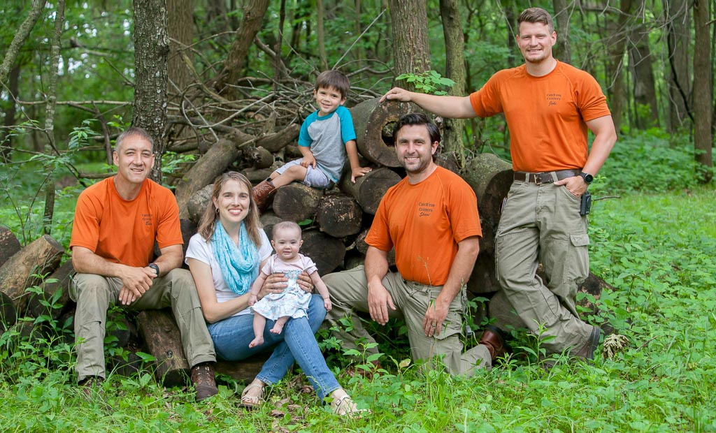 Ben (Owner/Operator, B.S. Biology) and Liebe Stutzman with children Caleb and Lydia; Shane Schwartz and Jake O'Donnell Technicians